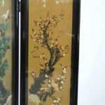 Asian-Four-Panel-Hand-Painted-Screen-in-Lacquer-with-Stonework-264913587789-8