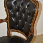French-Style-Black-Leather-Swivel-Arm-Chair-264941027009-5