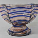 Kralik-Art-Glass-Czech-Footed-Bowl-Light-Rose-With-Blue-Threading-264914719729
