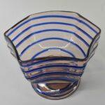 Kralik-Art-Glass-Czech-Footed-Bowl-Light-Rose-With-Blue-Threading-264914719729-2