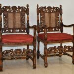 Pair-Antique-Carved-Edwardian-Arm-Chairs-Circa-1910-Caned-Back-Seat-194247748369