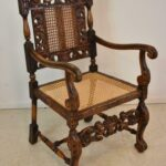 Pair-Antique-Carved-Edwardian-Arm-Chairs-Circa-1910-Caned-Back-Seat-194247748369-2