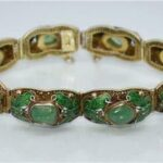 Vintage-Chinese-Green-Jade-Raw-Stone-Enameled-Butterflies-Gilt-Silver-Bracelet-193657054049