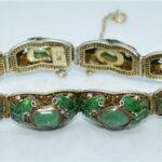 Vintage-Chinese-Green-Jade-Raw-Stone-Enameled-Butterflies-Gilt-Silver-Bracelet-193657054049-2