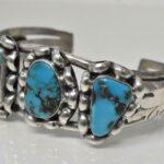 Vintage-Sterling-Silver-Turquoise-Cuff-Bracelet-417-Grams-265077664639